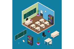Interior Classroom with Furniture