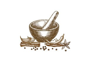 Spices and Mortar Hand Draw