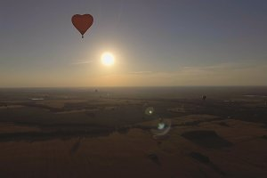 Hot air balloon in the sky.