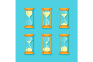 Transparent Sandglass Set. Vector