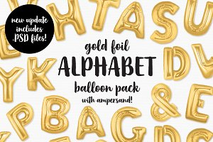 Gold Foil Alphabet Balloon Pack