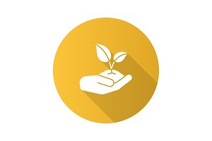 Open hand with sprout flat design long shadow glyph icon