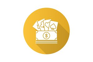 Cash with playing cards flat design long shadow glyph icon