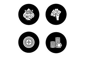 Casino glyph icons set