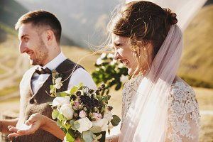 Bride and groom look lovely