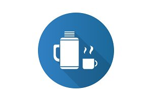 Thermos with cup flat design long shadow glyph icon