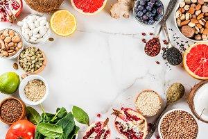 Set of organic healthy food