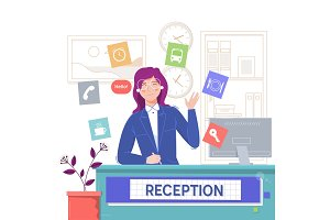 Reception service hotel,Smiling girl sitting at the reception desk.Flat vector illustration