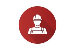 Builder flat design long shadow glyph icon