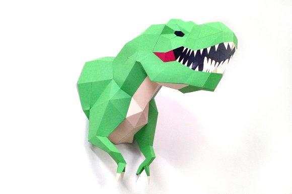 diy t rex trophy 3d papercraft templates creative market