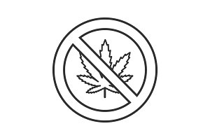 Forbidden sign with marijuana leaf linear icon