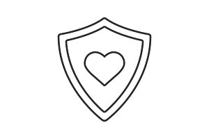 Shield with heart shape linear icon