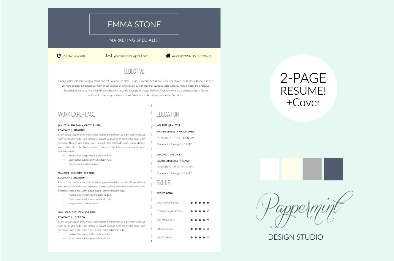 resume template cover letter word resume templates creative market