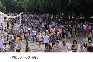 People walking Park Kultury Moscow