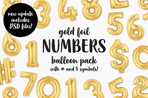 Gold Foil Number Balloon Pack