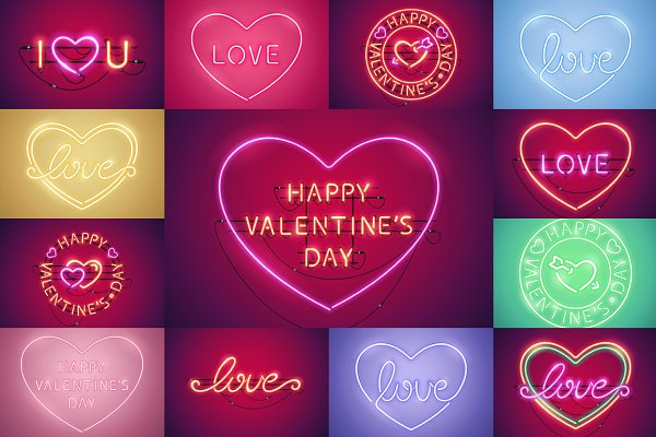 Happy Valentine's Day Neon Set