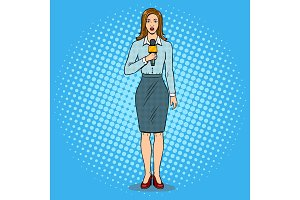 Journalist with microphone pop art vector