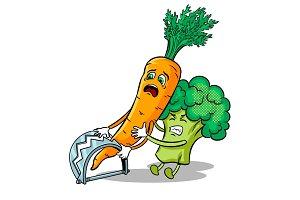 Carrot in trap pop art vector illustration