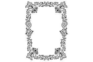Vintage frame pattern engraving vector