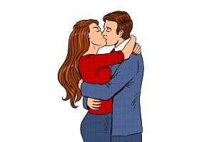 Kissing couple pop art vector illustration