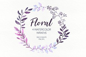 Floral watercolor wreaths