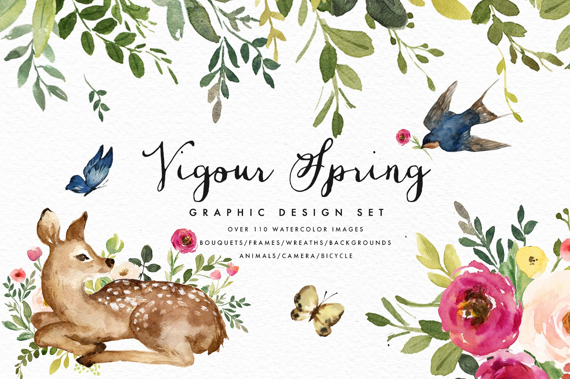 Vigorous Spring Graphic Design Set Illustrations Creative Market