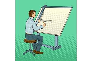 Old school engineer pop art vector illustration