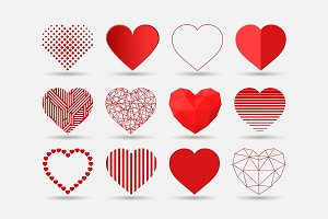 Heart icons set in different styles