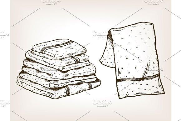 Towels engraving vector illustration