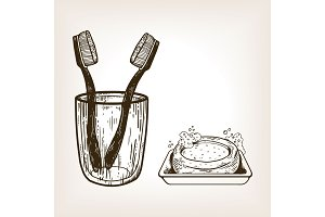 Toothbrushes in glass and soap engraving vector