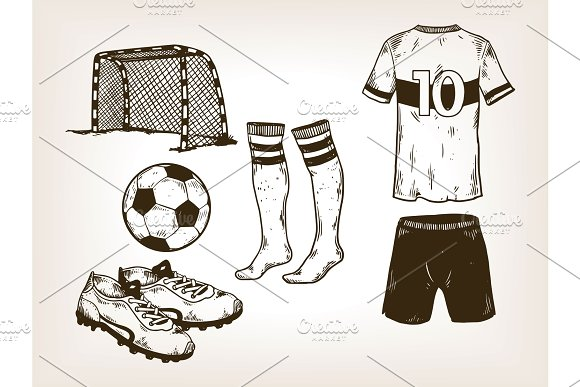 Football soccer equipment engraving vector