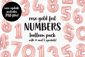 Rose Gold Foil Number Balloon Pack