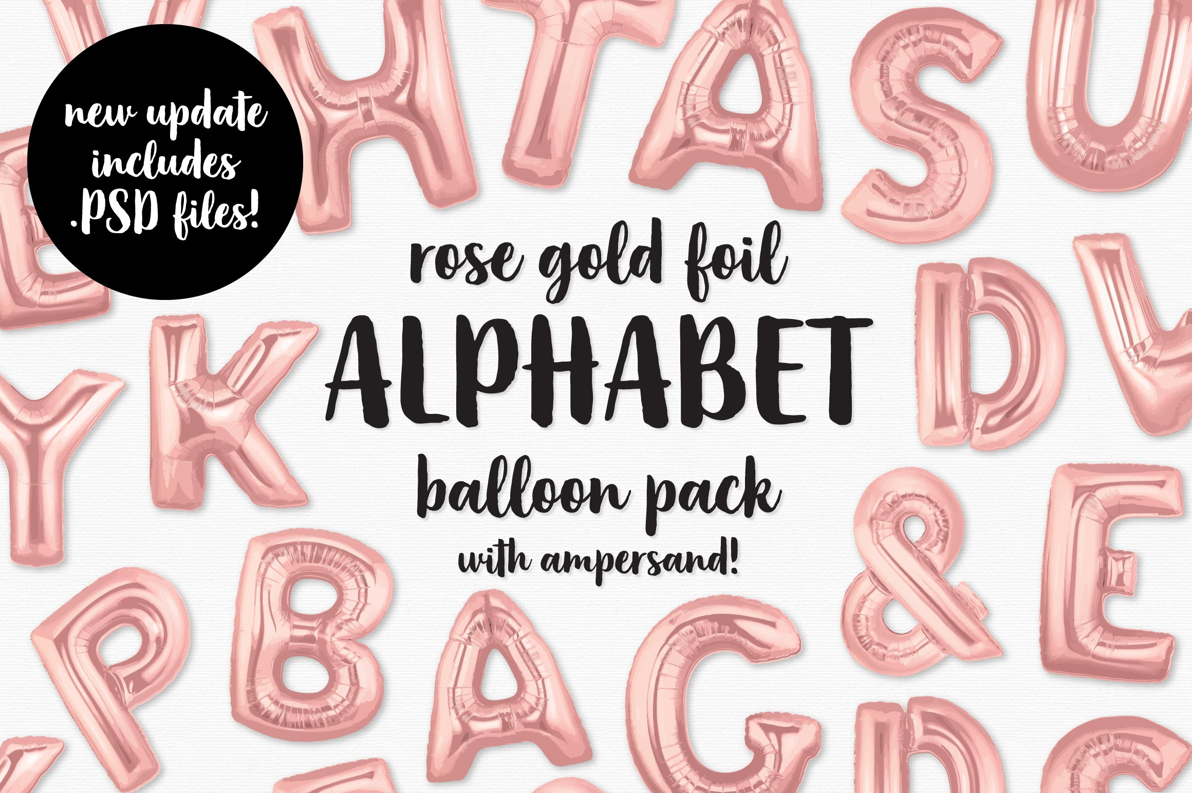 Download Rose Gold Foil Alphabet Balloon Pack ~ Graphic Objects ...