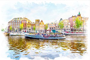 watercolor landscape of Amsterdam
