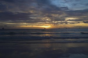 Beautiful sunset over sea. Boracay island Philippines.