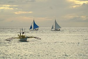 Sailing boat in blue sea. Boracay island Philippines.