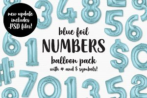 Blue Foil Number Balloon Pack