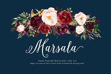 Watercolor flower Clip Art-Marsala
