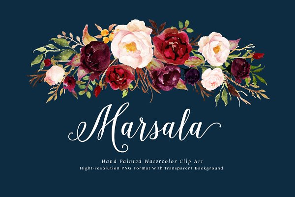Watercolor flower Clip Art-Marsala