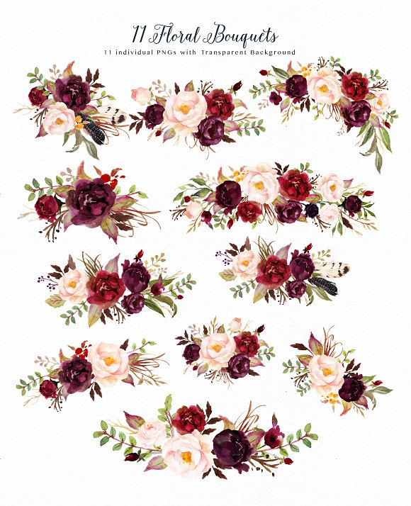 Watercolor Flower Clip Art Marsala Illustrations Creative Market