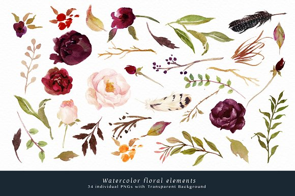 Watercolor Flower Clip Art Marsala