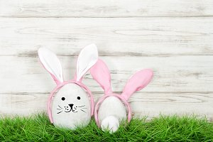 Funny Easter bunnies decoration