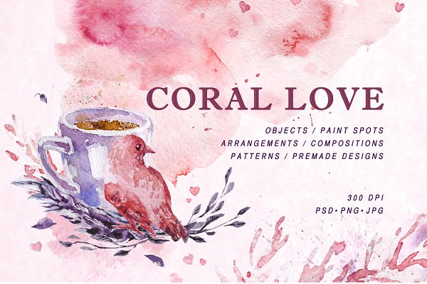 coral love, PSD + PNG +JPG