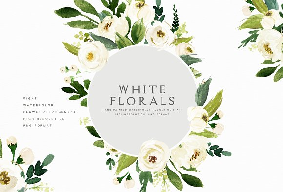 Watercolor white flower clip art illustrations creative market watercolor white flower clip art illustrations mightylinksfo