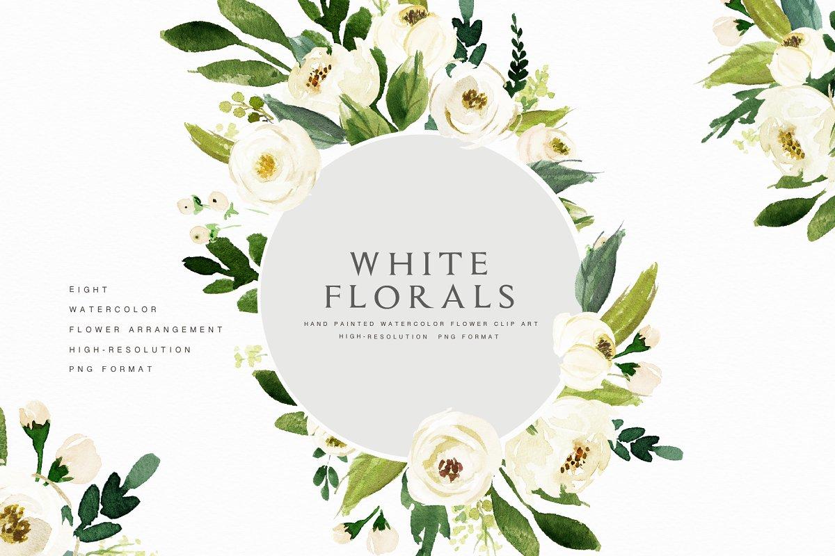 Watercolor White Flower Clip Art Custom Designed Illustrations