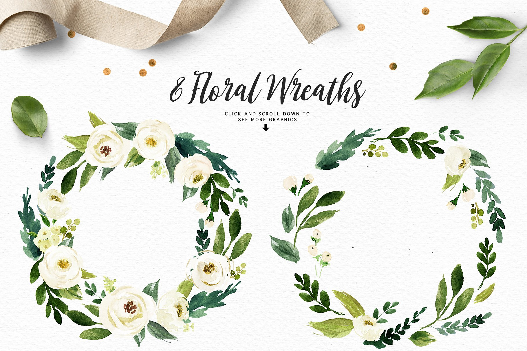 Watercolor White Flower Clip Art Illustrations Creative Market Pro