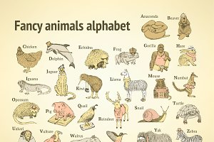 Sketch fancy animals alphabet