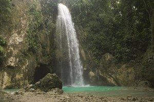Beautiful tropical waterfall. Philippines Cebu island.