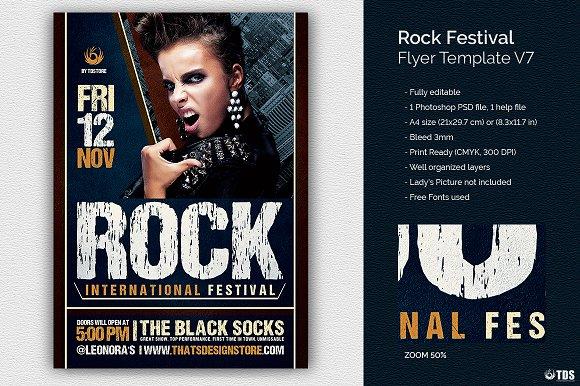 Rock Festival Flyer Template V7 Flyer Templates Creative Market
