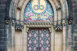 Decorated church entrance in Prague